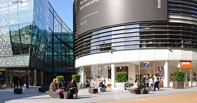 Urban furniture at Westfield Stratford City Shopping Center