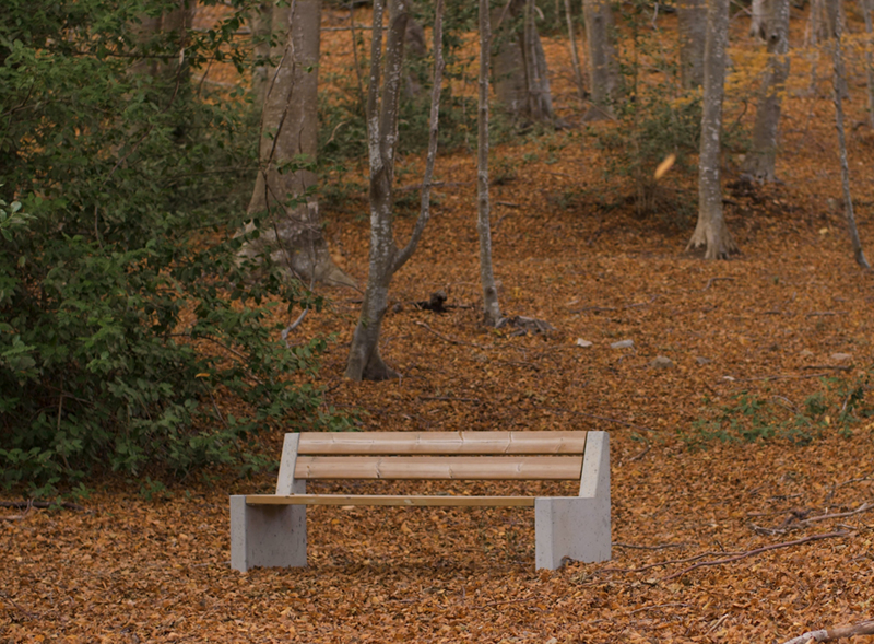 Alpine sustainable bench ecodesign